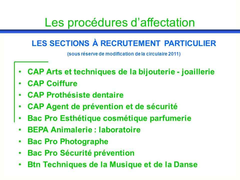 Les procédures daffectation CAP Arts et techniques de la bijouterie - joaillerie CAP Coiffure CAP Prothésiste dentaire CAP Agent de prévention et de s
