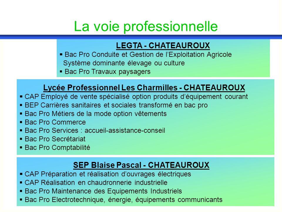 Lycée Professionnel Les Charmilles - CHATEAUROUX CAP Employé de vente spécialisé option produits déquipement courant BEP Carrières sanitaires et socia