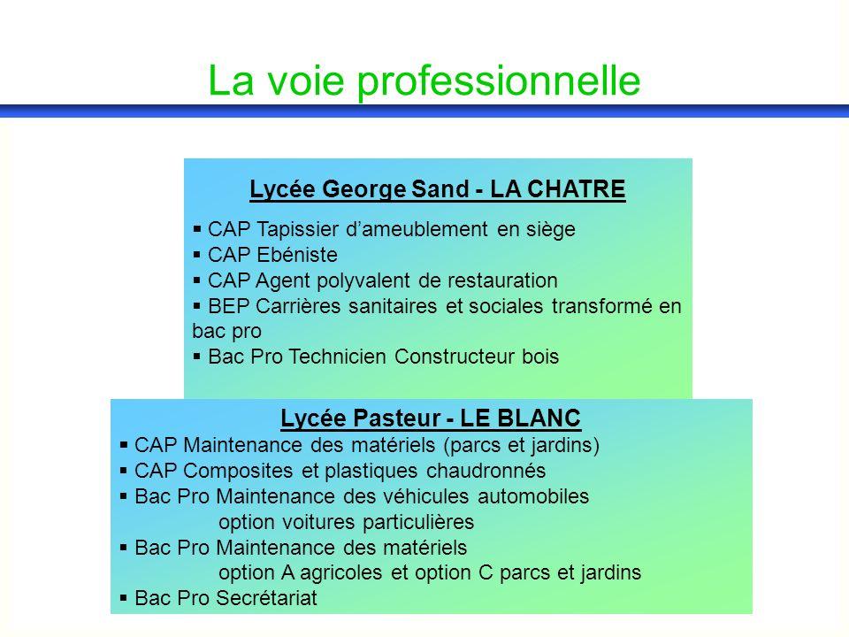 Lycée George Sand - LA CHATRE CAP Tapissier dameublement en siège CAP Ebéniste CAP Agent polyvalent de restauration BEP Carrières sanitaires et social