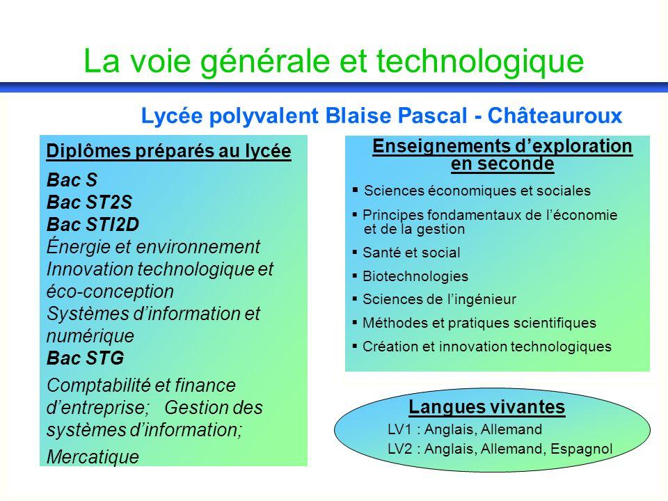 La voie générale et technologique Lycée polyvalent Blaise Pascal - Châteauroux Diplômes préparés au lycée Bac S Bac ST2S Bac STI2D Énergie et environn