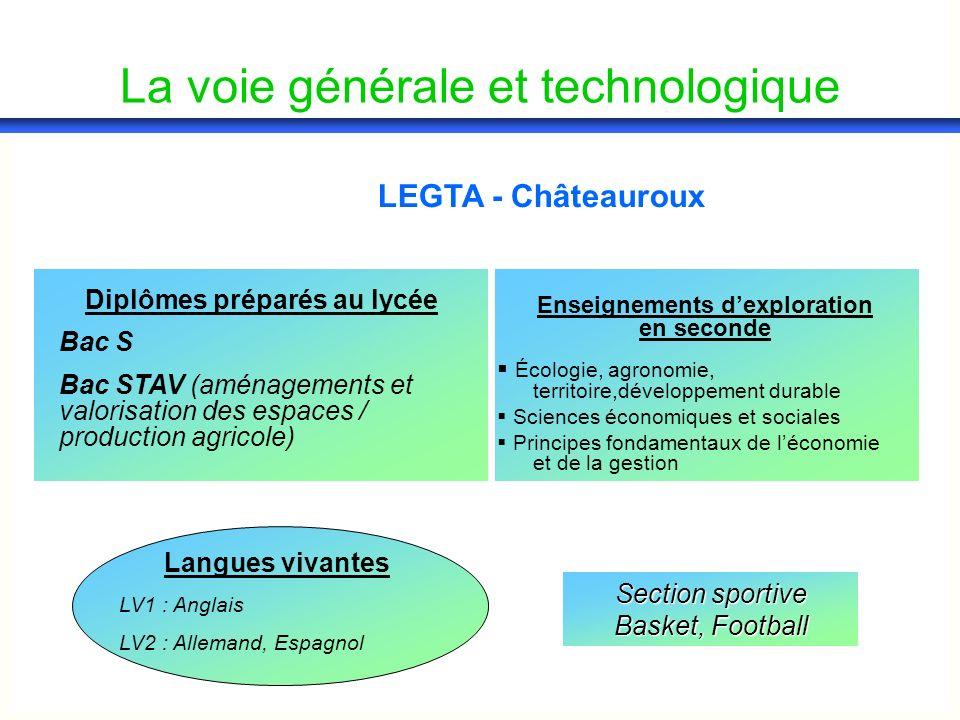 La voie générale et technologique LEGTA - Châteauroux Diplômes préparés au lycée Bac S Bac STAV (aménagements et valorisation des espaces / production