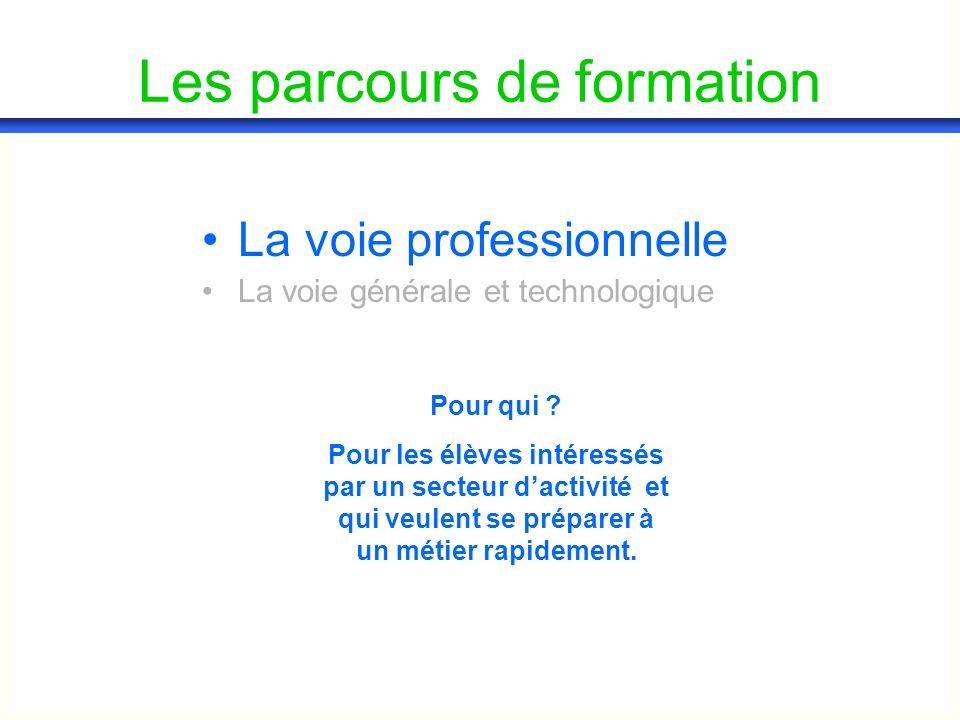 Les parcours de formation La voie professionnelle La voie générale et technologique Pour qui .