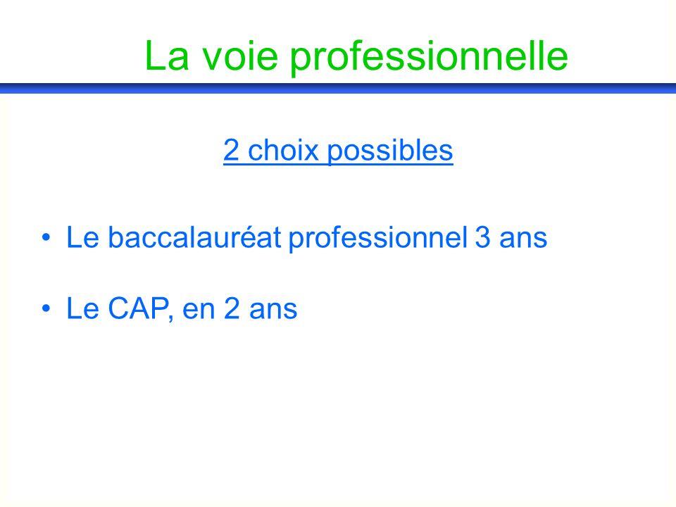 La voie professionnelle 2 choix possibles Le baccalauréat professionnel 3 ans Le CAP, en 2 ans
