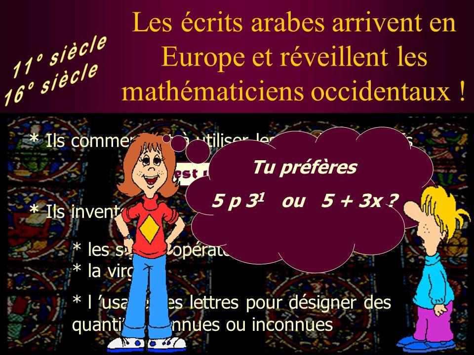 Rôle fondamental des mathématiciens arabes ! * Ils développent surtout l algèbre (Al jabr en arabe) et la trigonométrie
