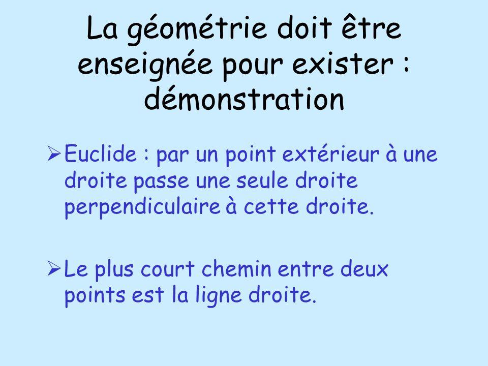 La géométrie doit être enseignée pour exister : démonstration Euclide : par un point extérieur à une droite passe une seule droite perpendiculaire à c