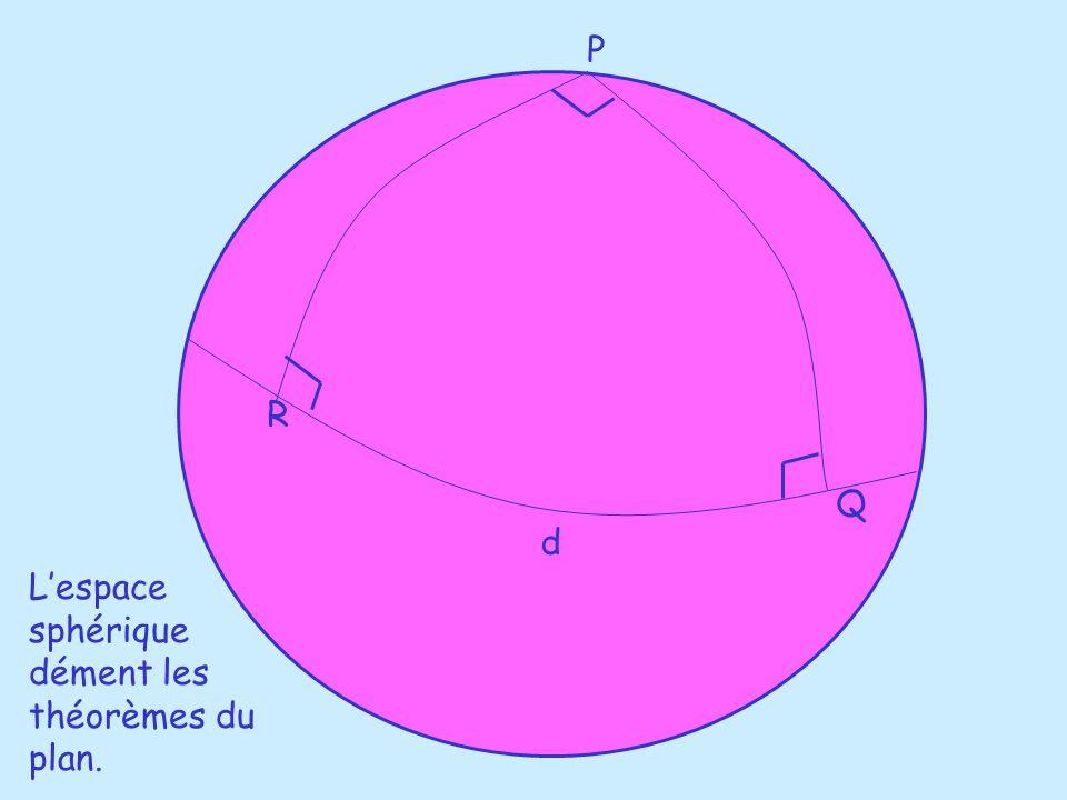 d P Q R Lespace sphérique dément les théorèmes du plan.
