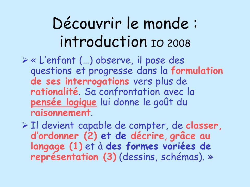 Découvrir le monde : introduction IO 2008 « Lenfant (…) observe, il pose des questions et progresse dans la formulation de ses interrogations vers plu