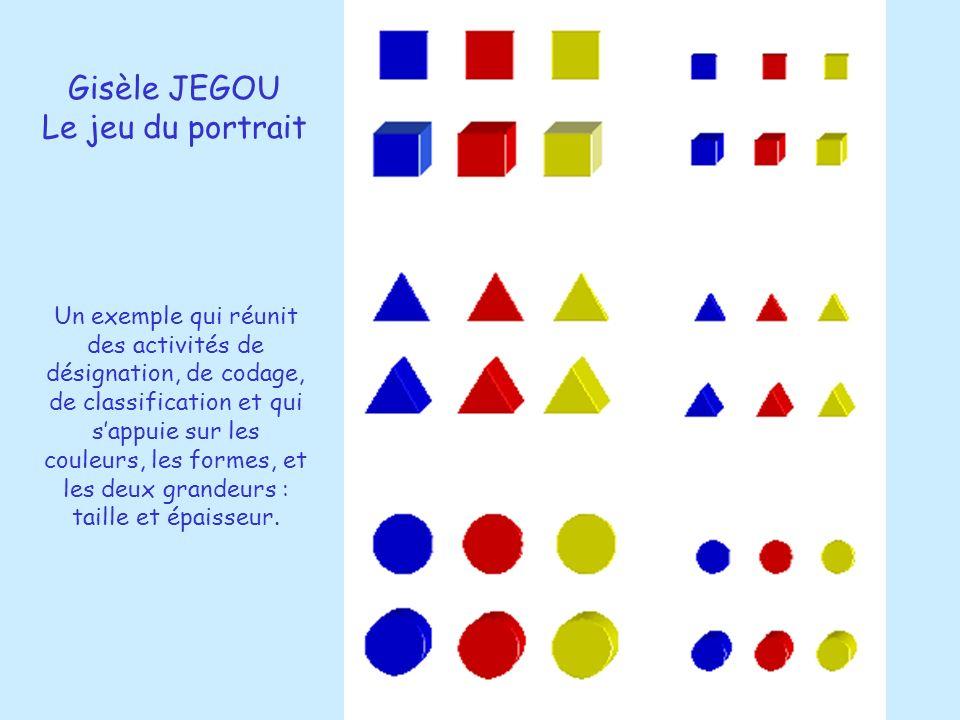 Gisèle JEGOU Le jeu du portrait Un exemple qui réunit des activités de désignation, de codage, de classification et qui sappuie sur les couleurs, les