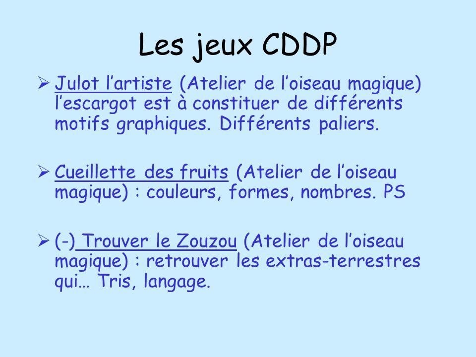 Les jeux CDDP Julot lartiste (Atelier de loiseau magique) lescargot est à constituer de différents motifs graphiques. Différents paliers. Cueillette d