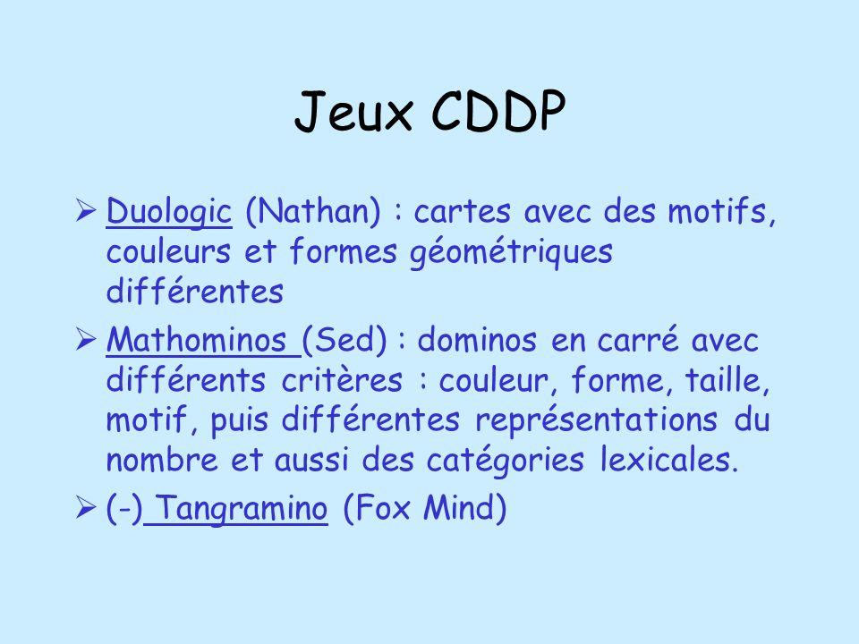 Jeux CDDP Duologic (Nathan) : cartes avec des motifs, couleurs et formes géométriques différentes Mathominos (Sed) : dominos en carré avec différents