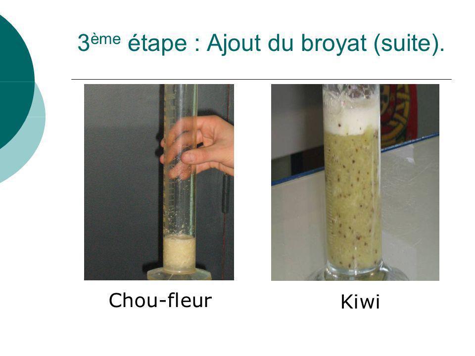 3 ème étape : Ajout du broyat (suite). Chou-fleur Kiwi