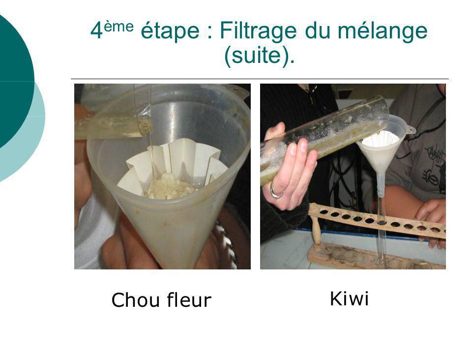 4 ème étape : Filtrage du mélange (suite). Chou fleur Kiwi