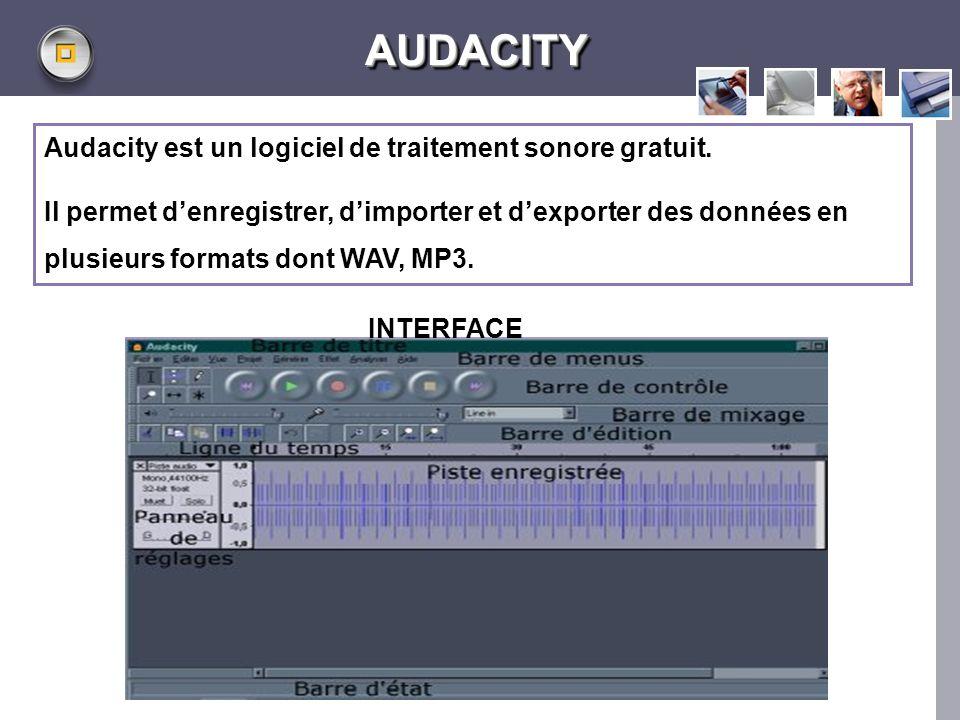 LOGO www.themegallery.com AUDACITYAUDACITY Audacity est un logiciel de traitement sonore gratuit. Il permet denregistrer, dimporter et dexporter des d