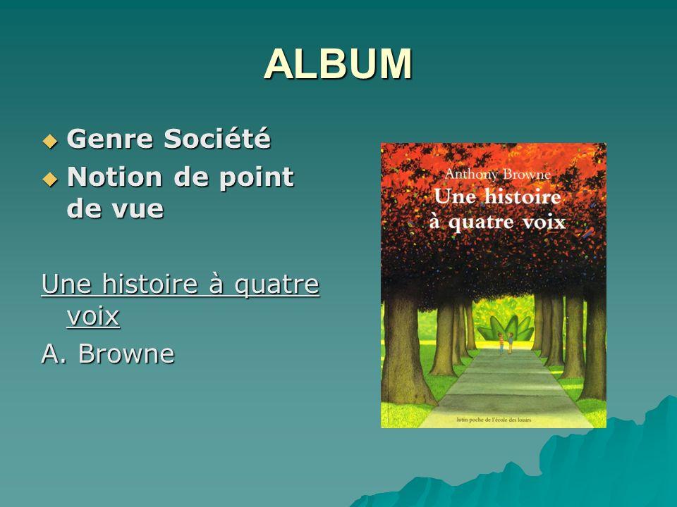 ALBUM Genre Société Genre Société Notion de point de vue Notion de point de vue Une histoire à quatre voix A.