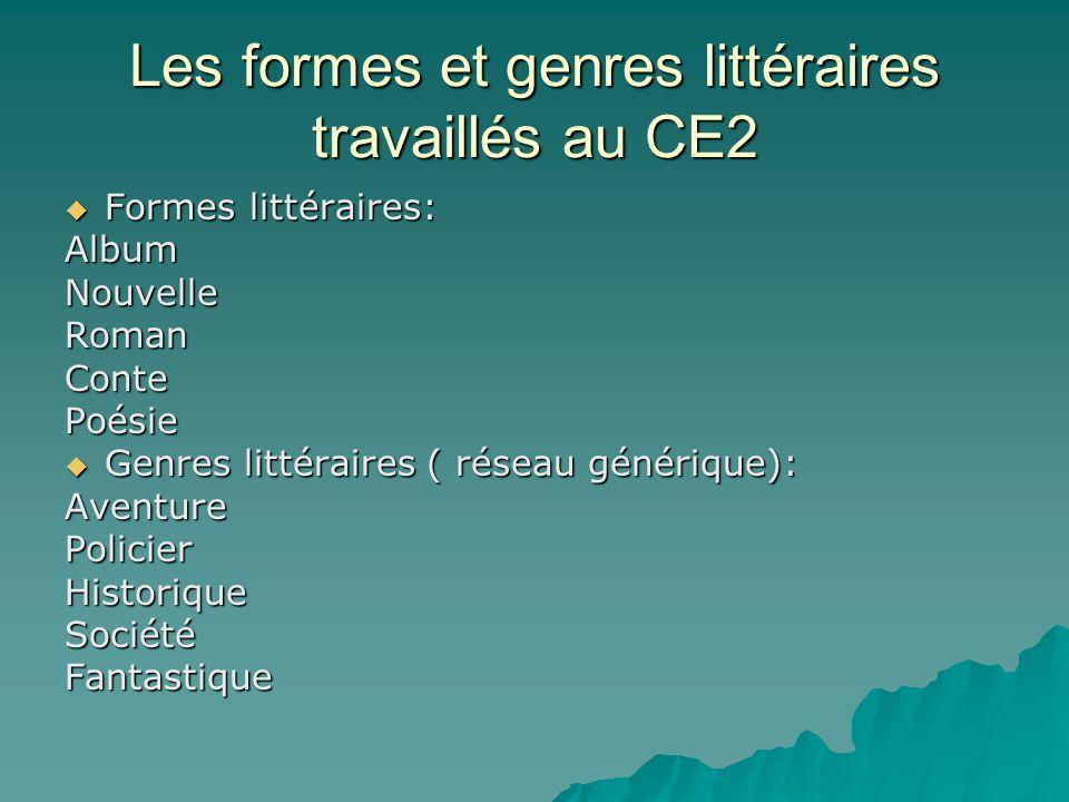 Les formes et genres littéraires travaillés au CE2 Formes littéraires: Formes littéraires:AlbumNouvelleRomanContePoésie Genres littéraires ( réseau générique): Genres littéraires ( réseau générique):AventurePolicierHistoriqueSociétéFantastique