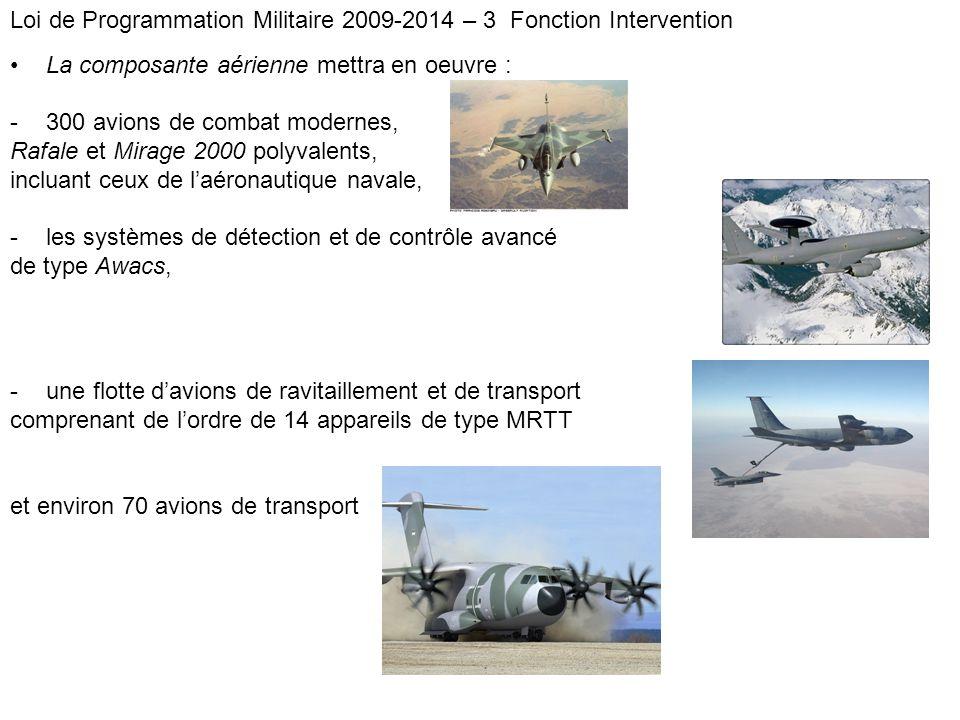 La composante aérienne mettra en oeuvre : -300 avions de combat modernes, Rafale et Mirage 2000 polyvalents, incluant ceux de laéronautique navale, -l