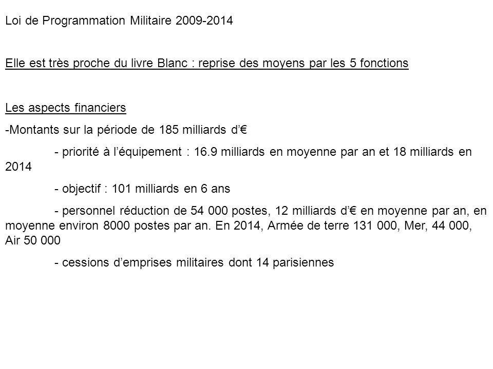 Loi de Programmation Militaire 2009-2014 Elle est très proche du livre Blanc : reprise des moyens par les 5 fonctions Les aspects financiers -Montants