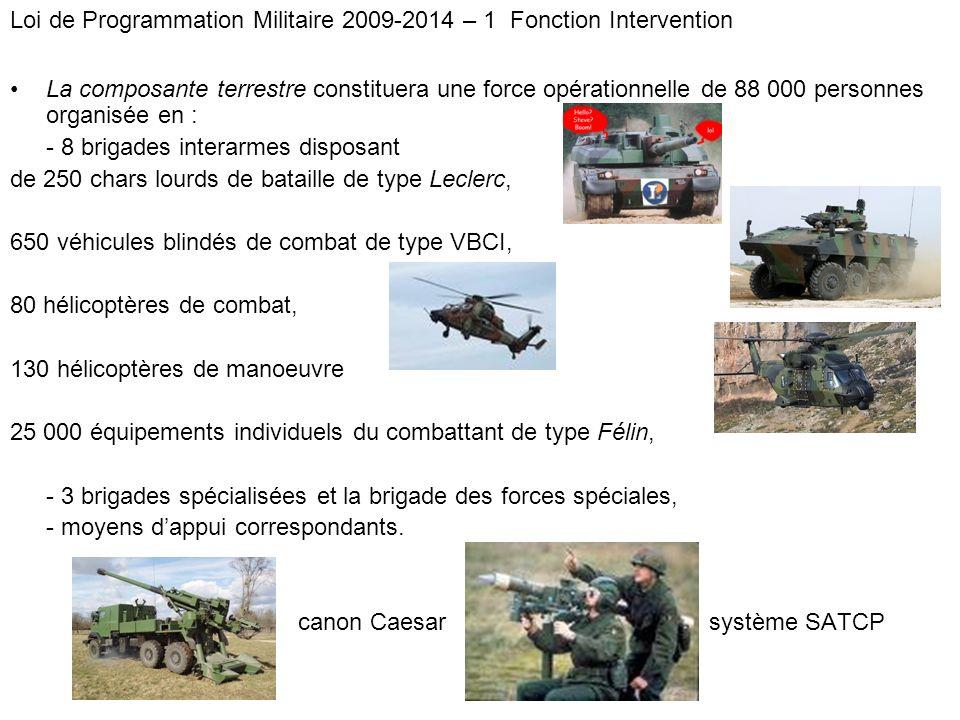 La composante terrestre constituera une force opérationnelle de 88 000 personnes organisée en : - 8 brigades interarmes disposant de 250 chars lourds