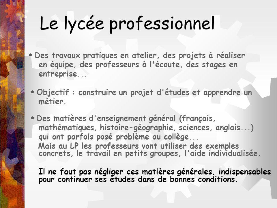 Le lycée professionnel Des travaux pratiques en atelier, des projets à réaliser en équipe, des professeurs à l'écoute, des stages en entreprise... Obj