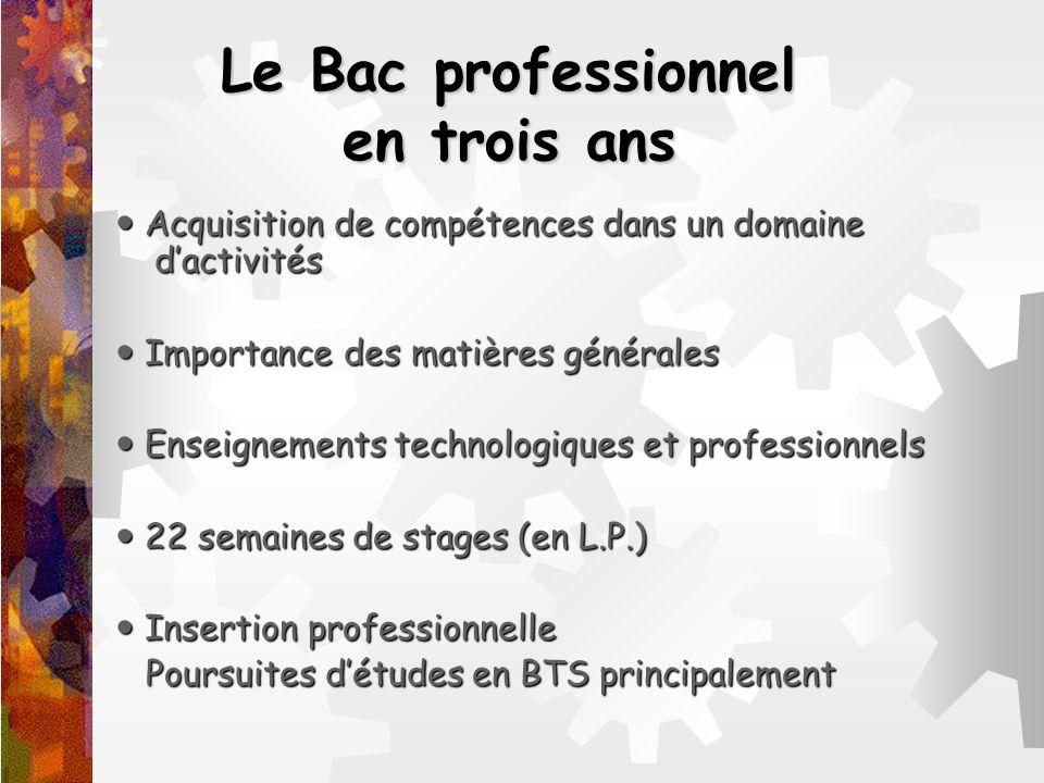 Le Bac professionnel en trois ans Acquisition de compétences dans un domaine dactivités Acquisition de compétences dans un domaine dactivités Importan