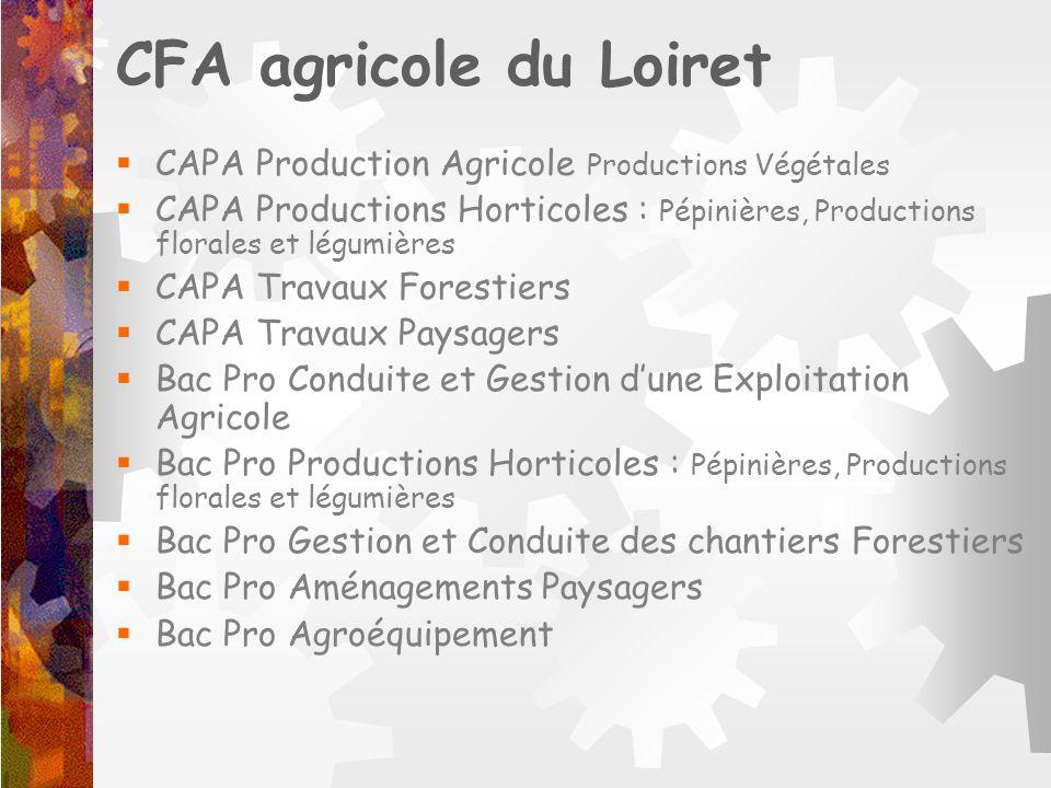 CFA agricole du Loiret CAPA Production Agricole Productions Végétales CAPA Productions Horticoles : Pépinières, Productions florales et légumières CAP
