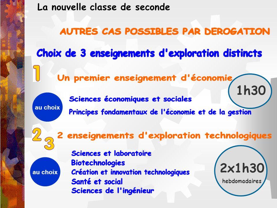 2x1h30 hebdomadaires La nouvelle classe de seconde au choix 1h30