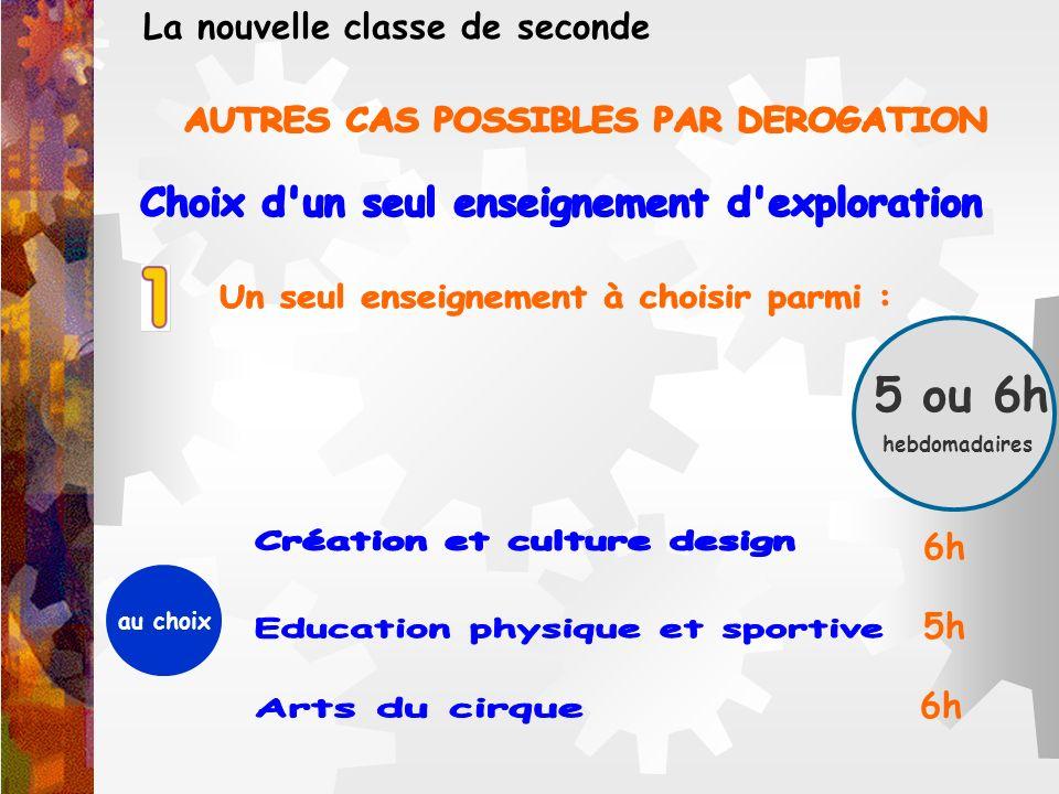 5 ou 6h hebdomadaires La nouvelle classe de seconde au choix 5h 6h