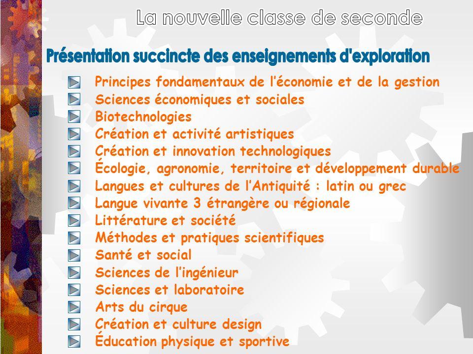 Principes fondamentaux de léconomie et de la gestion Sciences économiques et sociales Biotechnologies Création et activité artistiques Création et inn
