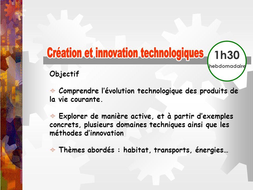 1h30 hebdomadaire Objectif Comprendre lévolution technologique des produits de la vie courante. Explorer de manière active, et à partir dexemples conc
