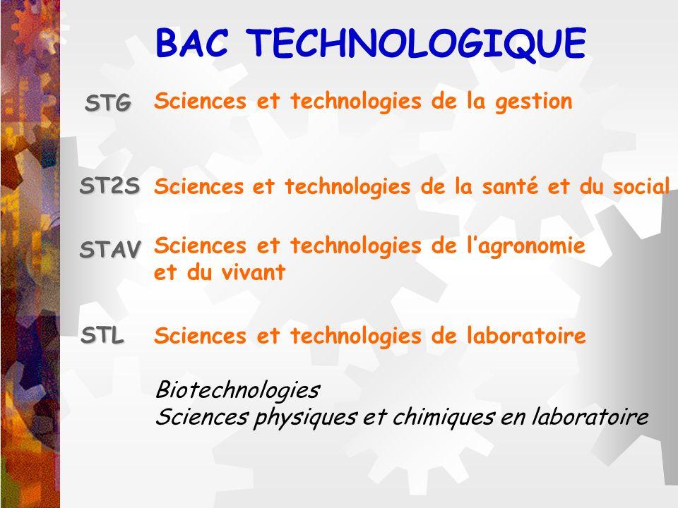 BAC TECHNOLOGIQUE STG ST2S STAV STL Sciences et technologies de la gestion Sciences et technologies de la santé et du social Sciences et technologies