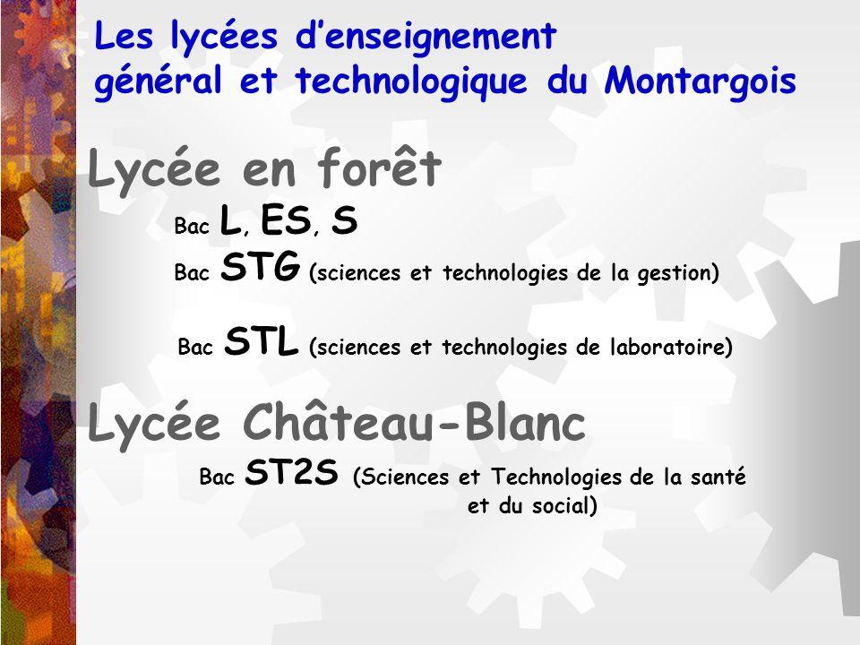 Les lycées denseignement général et technologique du Montargois Lycée en forêt Bac L, ES, S Bac STG (sciences et technologies de la gestion) Bac STL (