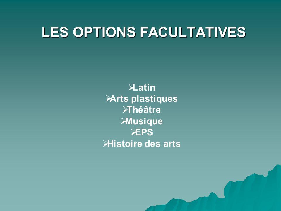 Latin Arts plastiques Théâtre Musique EPS Histoire des arts LES OPTIONS FACULTATIVES