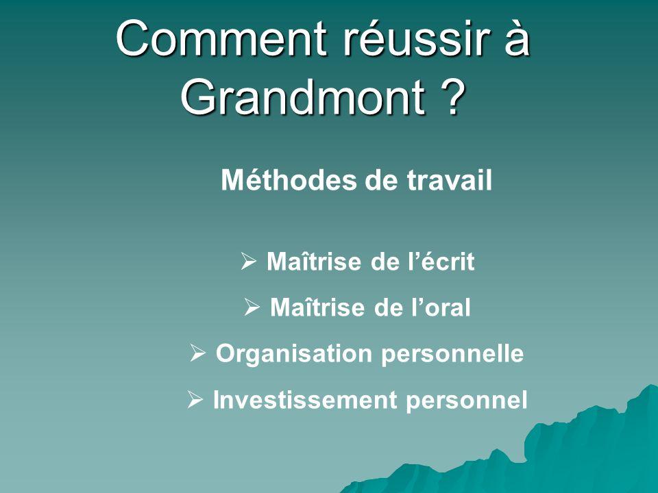 Méthodes de travail Maîtrise de lécrit Maîtrise de loral Organisation personnelle Investissement personnel Comment réussir à Grandmont ?