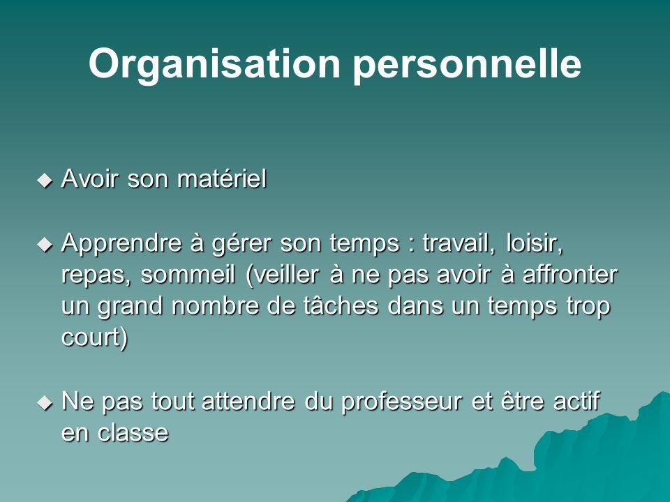 Organisation personnelle Avoir son matériel Avoir son matériel Apprendre à gérer son temps : travail, loisir, repas, sommeil (veiller à ne pas avoir à