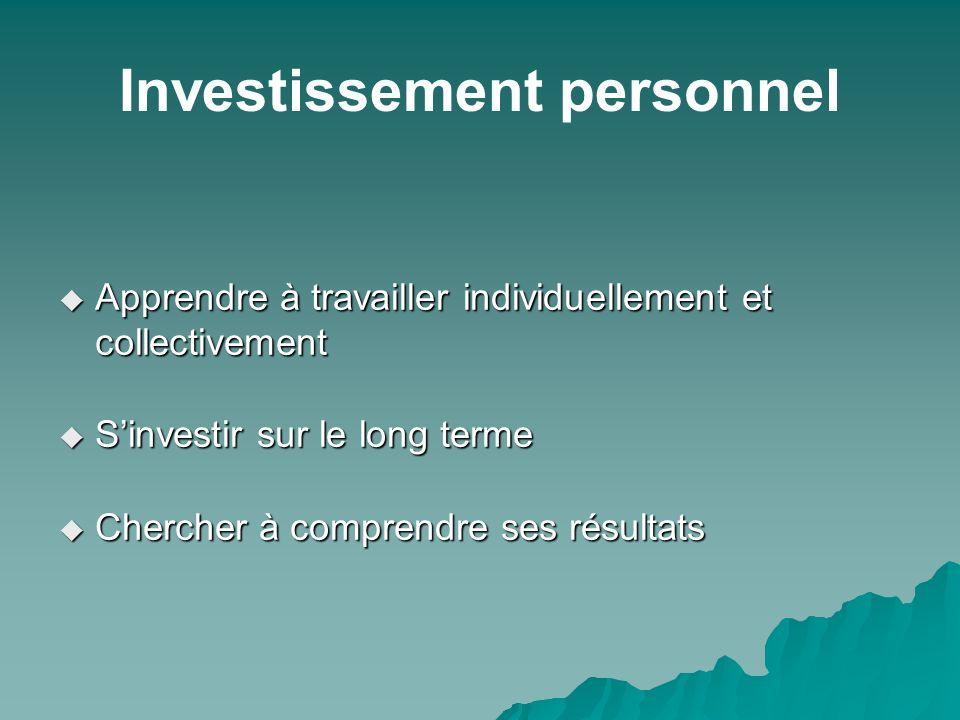 Investissement personnel Apprendre à travailler individuellement et collectivement Apprendre à travailler individuellement et collectivement Sinvestir