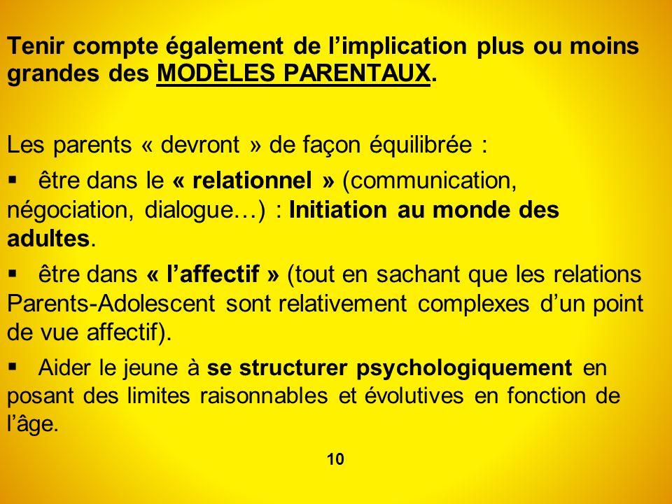 Tenir compte également de limplication plus ou moins grandes des MODÈLES PARENTAUX. Les parents « devront » de façon équilibrée : être dans le « relat