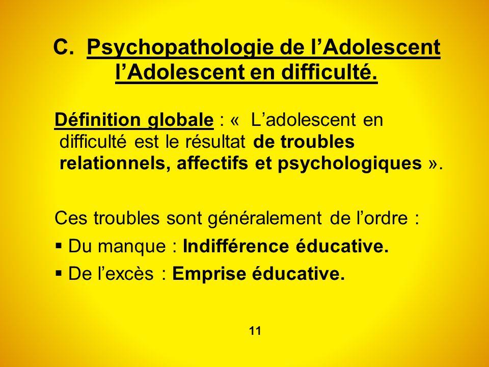 C. Psychopathologie de lAdolescent lAdolescent en difficulté. Définition globale : « Ladolescent en difficulté est le résultat de troubles relationnel