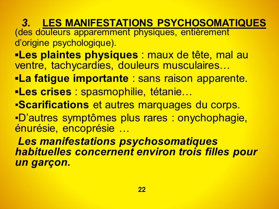 3. LES MANIFESTATIONS PSYCHOSOMATIQUES (des douleurs apparemment physiques, entièrement dorigine psychologique). Les plaintes physiques : maux de tête