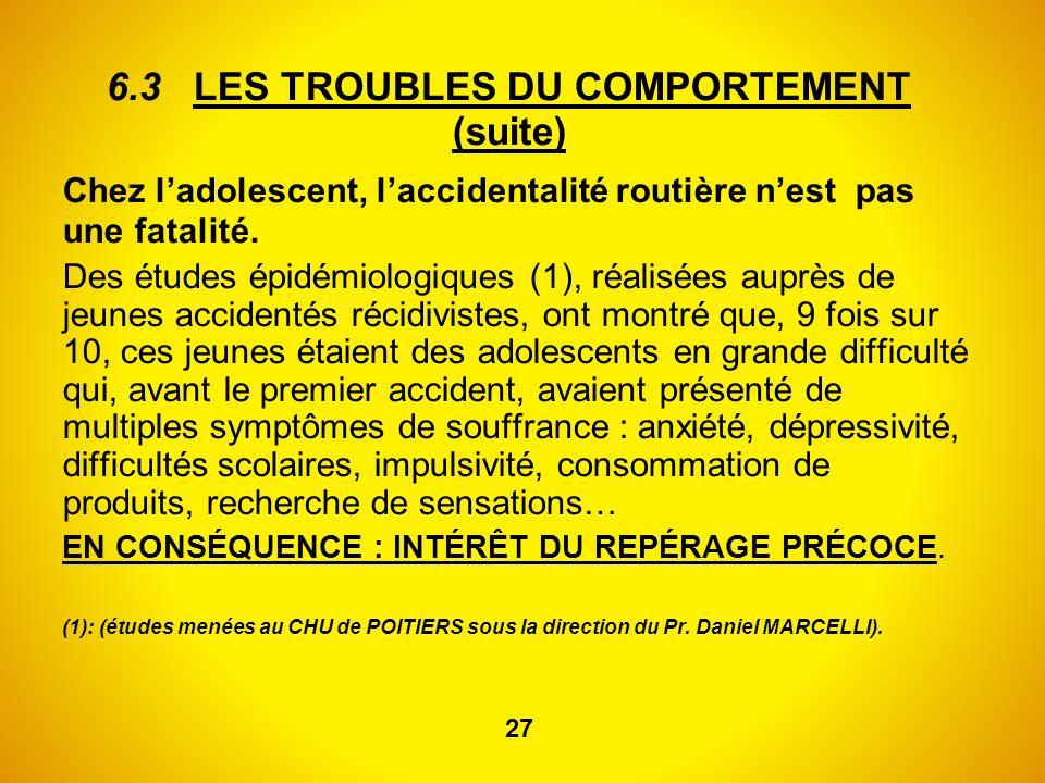 6.3 LES TROUBLES DU COMPORTEMENT (suite) Chez ladolescent, laccidentalité routière nest pas une fatalité. Des études épidémiologiques (1), réalisées a