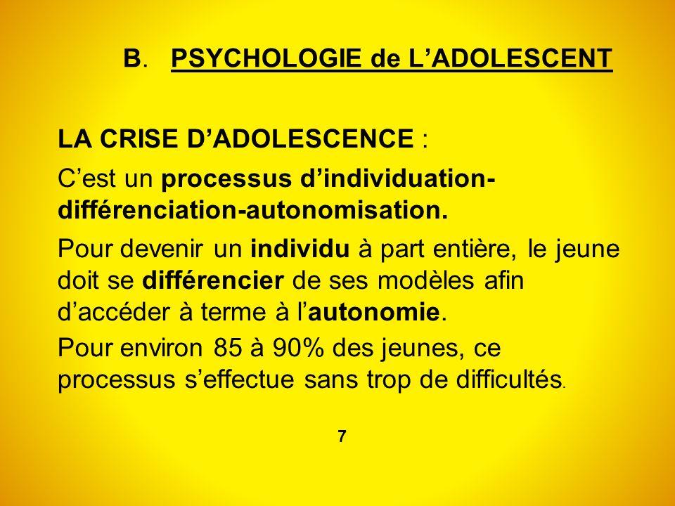 B. PSYCHOLOGIE de LADOLESCENT LA CRISE DADOLESCENCE : Cest un processus dindividuation- différenciation-autonomisation. Pour devenir un individu à par