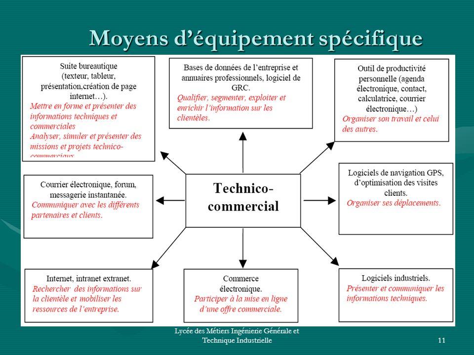 Lycée des Métiers Ingénierie Générale et Technique Industrielle11 Moyens déquipement spécifique