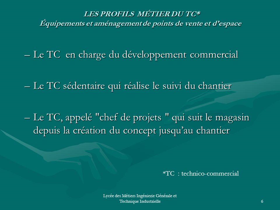 Lycée des Métiers Ingénierie Générale et Technique Industrielle6 LES PROFILS MÉTIER DU TC* Équipements et aménagement de points de vente et despace LE