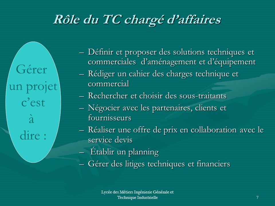 Lycée des Métiers Ingénierie Générale et Technique Industrielle7 Rôle du TC chargé daffaires –Définir et proposer des solutions techniques et commerci