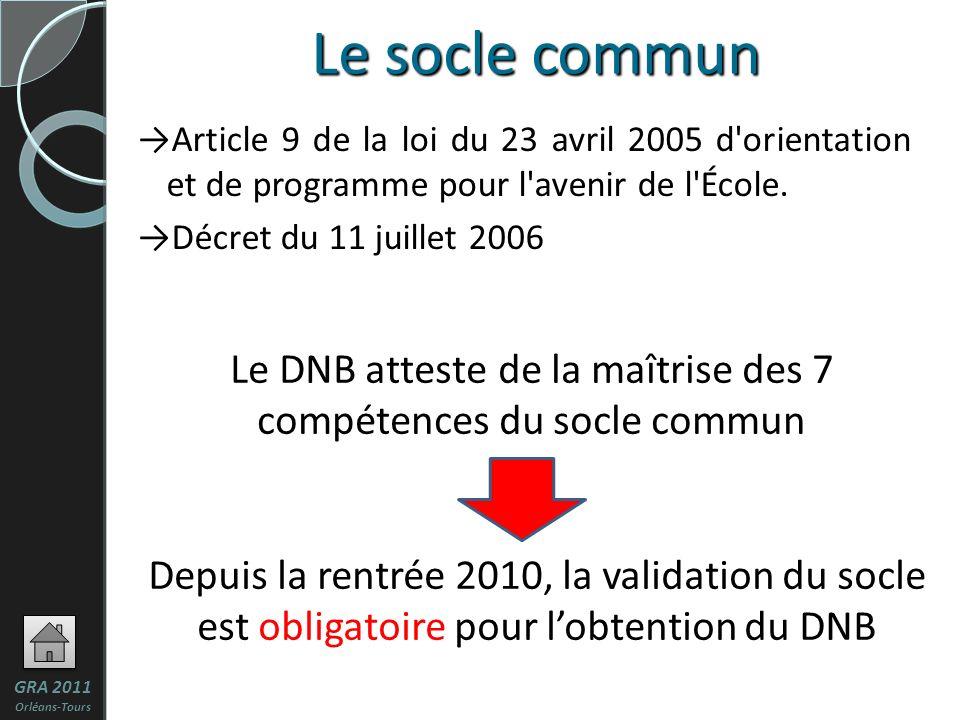 Le DNB atteste de la maîtrise des 7 compétences du socle commun Depuis la rentrée 2010, la validation du socle est obligatoire pour lobtention du DNB Le socle commun Article 9 de la loi du 23 avril 2005 d orientation et de programme pour l avenir de l École.