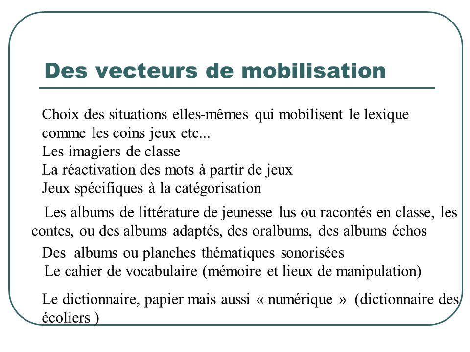 Des vecteurs de mobilisation Choix des situations elles-mêmes qui mobilisent le lexique comme les coins jeux etc...