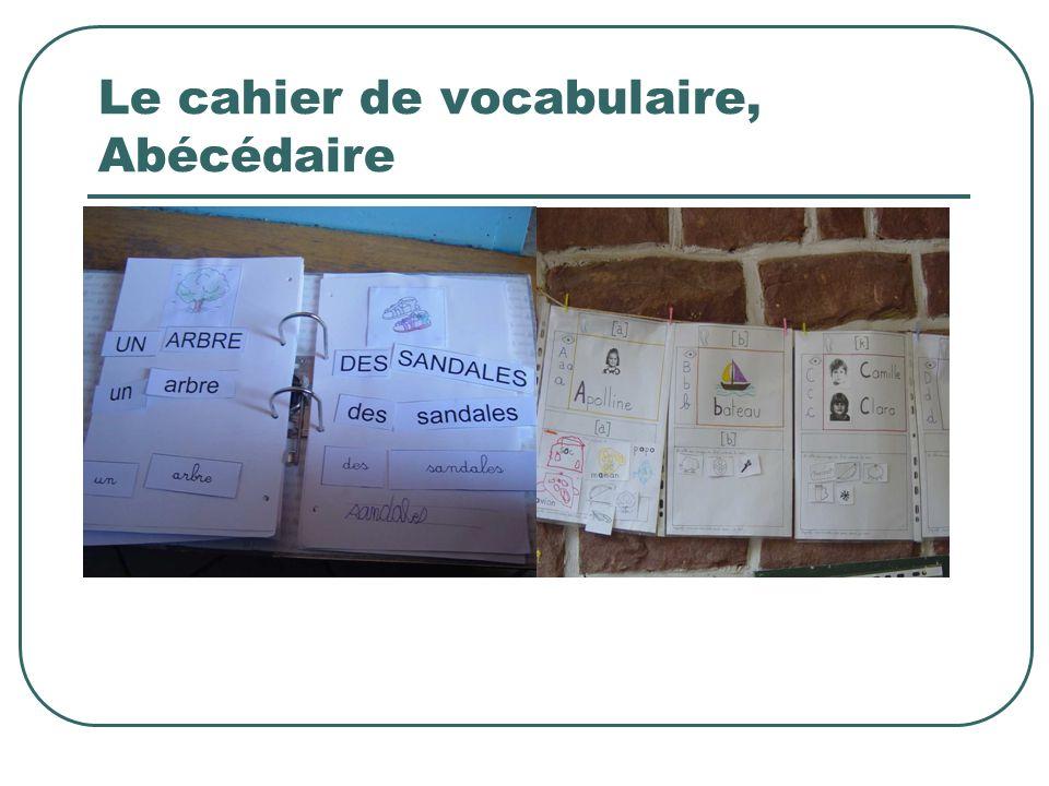 Le cahier de vocabulaire, Abécédaire