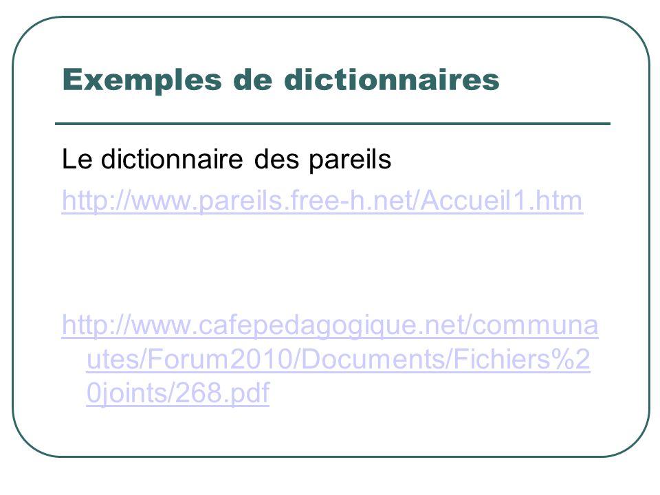 Exemples de dictionnaires Le dictionnaire des pareils http://www.pareils.free-h.net/Accueil1.htm http://www.cafepedagogique.net/communa utes/Forum2010/Documents/Fichiers%2 0joints/268.pdf