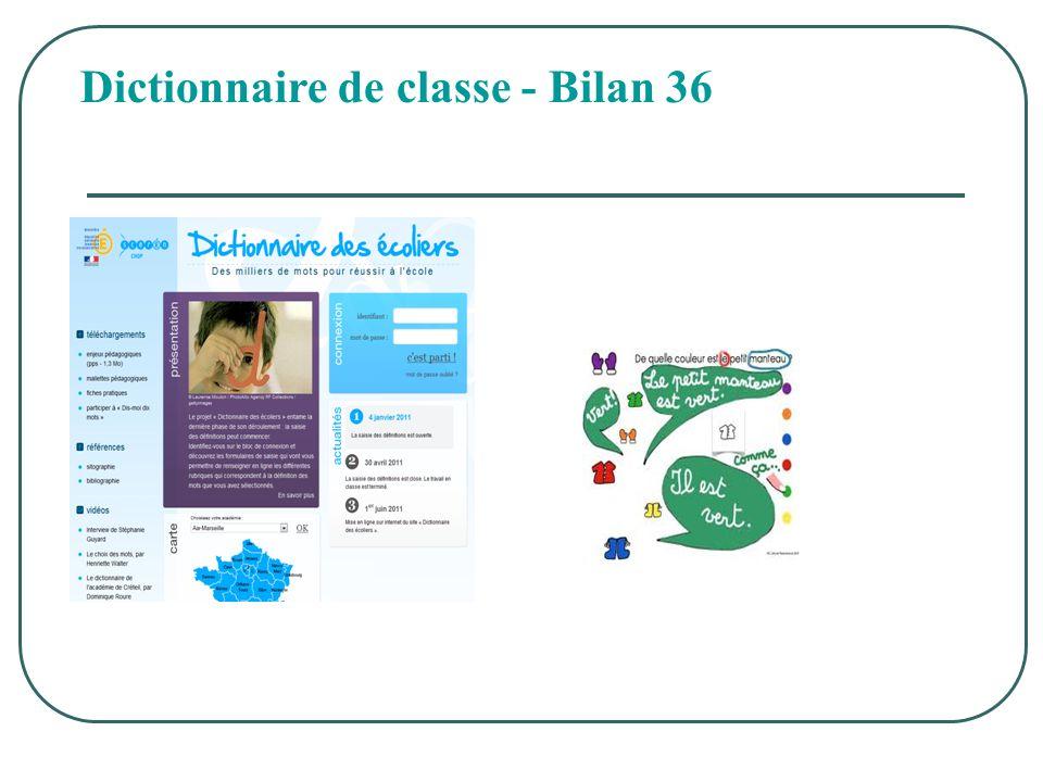 Dictionnaire de classe - Bilan 36