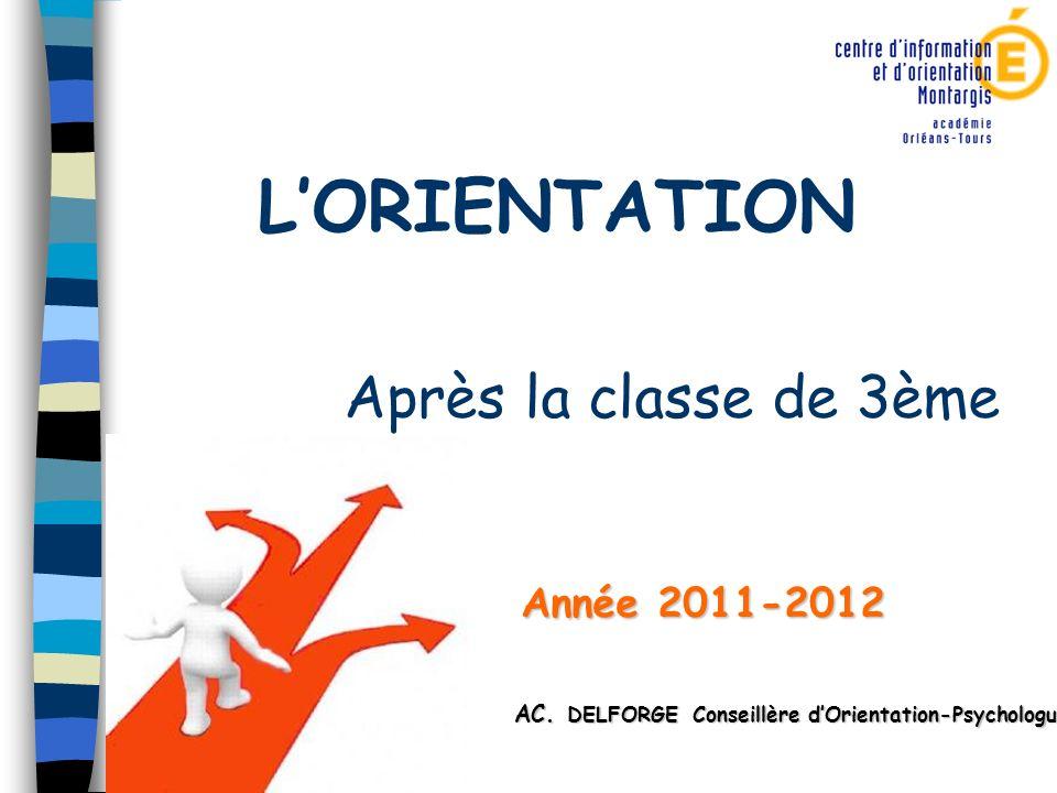 LORIENTATION Après la classe de 3ème Année 2011-2012 Année 2011-2012 AC AC. DELFORGE Conseillère dOrientation-Psychologue