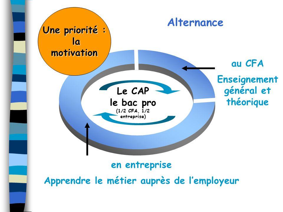 au CFA Enseignement général et théorique en entreprise Apprendre le métier auprès de lemployeur Le CAP le bac pro (1/2 CFA, 1/2 entreprise) Alternance